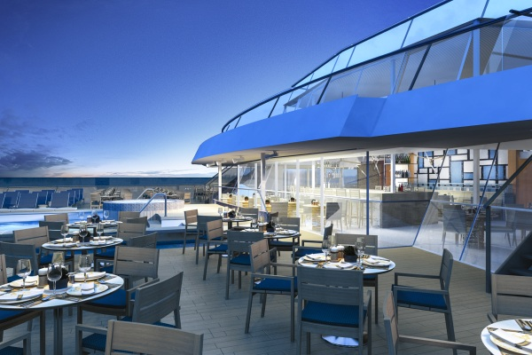 Una de las reas de comer al fresco del Viking Star. Imagen Viking Cruises.