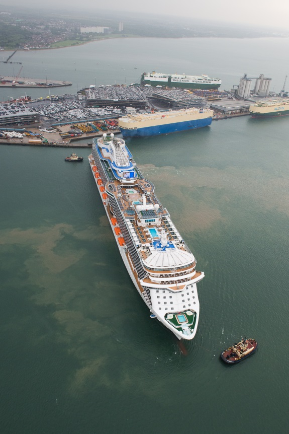 Llegada del Royal Princess a Southampton. Foto Princess Cruises.
